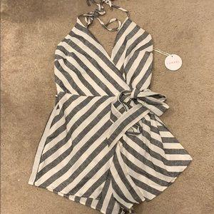 Luxxel Striped Wrap Romper